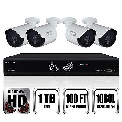 Night Owl 8 Channel  4 Camera 1080p Security System with 1TB HD DVR - NEW