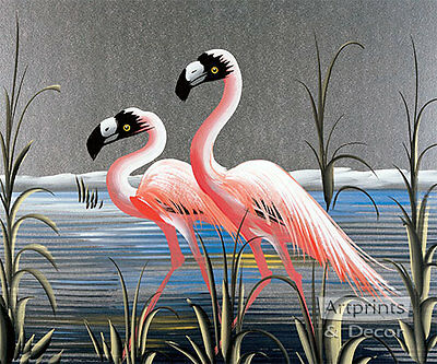 Retro Flamingos Art Print of Vintage Art