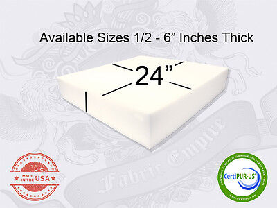 24 x 24 Square Upholstery Cushion Replacement Foam Sheet - FREE SHIPPING
