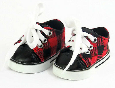 Red - Black Plaid Sneaker Shoes Boy for 18 inch American Girl Doll Clothes