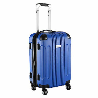GLOBALWAY Expandable 20 ABS Carry On Luggage Travel Bag Trolley Suitcase Blue