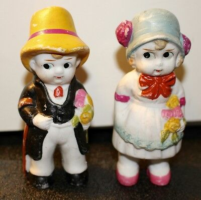 Lot of 2 Bisque Boy and Girl Figurines/ Made in Japan