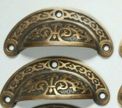 2 Antique vtg- Style Victorian Brass Apothecary Bin Pulls Handles 3-716w-  A5
