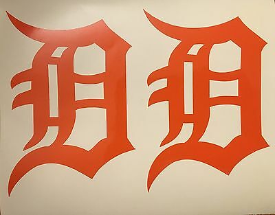 Detroit Tigers Old English D 2 Pack- Orange Vinyl Decal 4x 5-75FREE SHIPPING