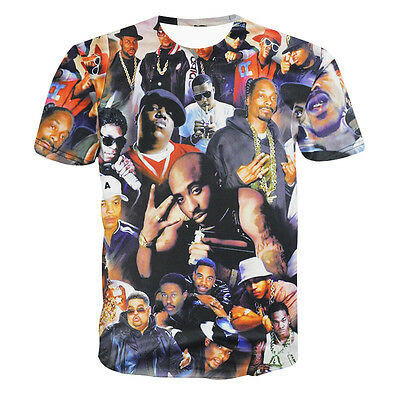 Yitsing 2pac Biggie Smalls Tupac Tshirt All Stars 3D Print Men T-shirt Rap Rock