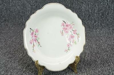 Lido W- S- George White Handled Porcelain Plate Gold Trim Floral 6 34 X 6 18
