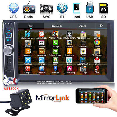7 2 DIN IN Dash Car GPS Stereo Video MP5 Player Mirror Link for Android -Camera