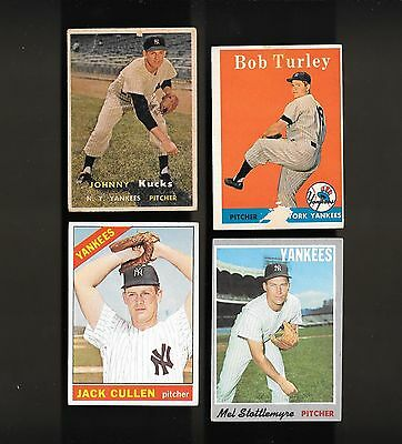 1957  58  66 - 70  NEW YORK YANKEES   4 CARD MIXED LOT