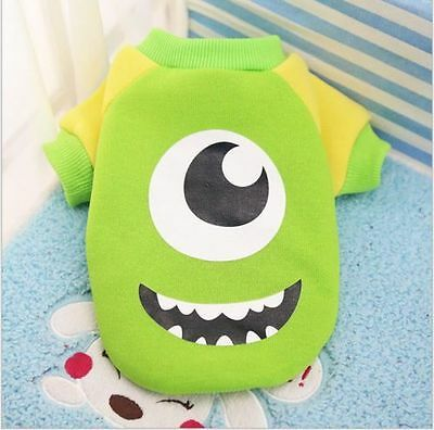Dog Clothes Cat Puppy Coat Small Pet Costume Apparel Green Big Eyes Monster S