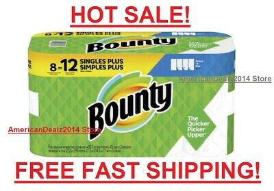 Bounty Paper Towels Roll Select A Size White 8 Pack Absorbent 8 OR 24 - NEW