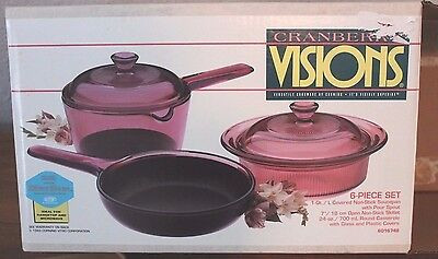 NEW  Cranberry   VISIONS  Corning Ware Glass  NONSTICK   Cookware   6 Piece Set