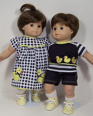 Duck Dress Undies Shirt Shorts Doll Clothes For Bitty Baby Boy Girl Twins Debs