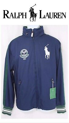 NEW Mens POLO RALPH LAUREN WIMBLEDON BIG PONY TENNIS TRACK JACKETHOODIE MEDIUM