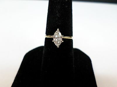 14Kt- Yellow Gold Womens 12 Ct- Marquise Cut Diamond Engagement Ring Size 5
