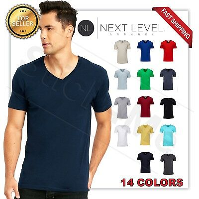 NEW MANS  V BLANK  T-SHIRT Premium Fitted V Neck Cotton Shirt Next Level 3200