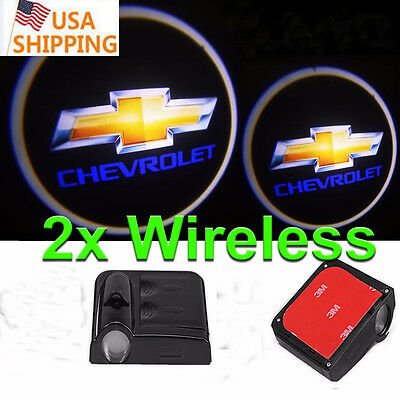 2pcs Wireless LED Courtesy Car Door Step Laser Welcome Ghost Light for Chevrolet