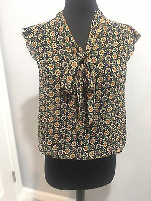 Forever 21 Floral Lightweight Shirt with Necktie Ruffled Sleeves S Great Conditi