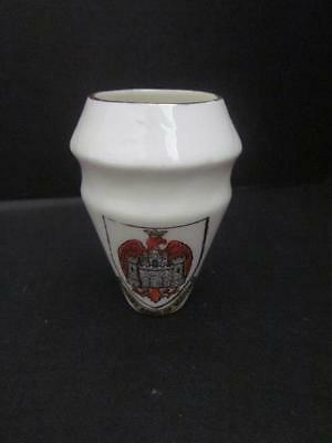 W- H- Goss China Crested Ware Arms of Bedford Musselburg NB Urn Model  2 Tall