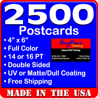 2500 Custom Full Color 4x6 Postcards wUV Glossy - Real Printing - Free Shipping