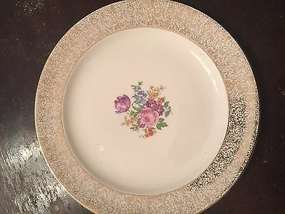 Antique Fine China Paden City Pottery USA Gold Floral Plate Dish 7 12 inch