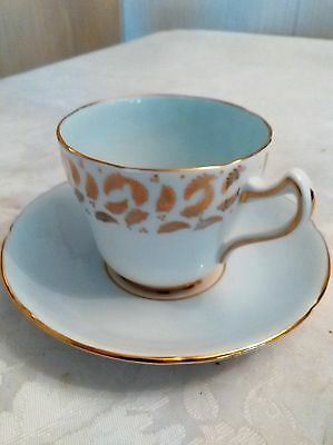 Royal Grafton Bone China Cup - Saucer White wGold Leaf