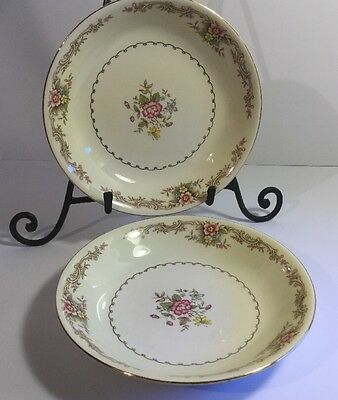 Paden City 2 Soup Salad Pasta 8 Coupe Bowls Pink Blue Yellow Flower Scroll K-49