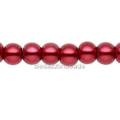 Lot 50 Dark Blood Red 6mm Round Glass Pearl Loose Jewelry Beads