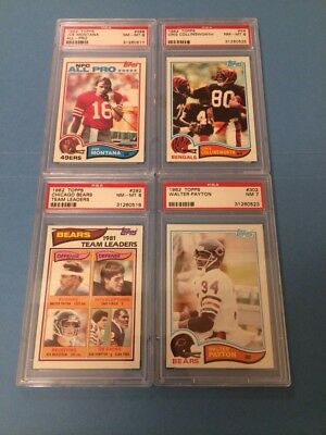 1982 Topps PSA Graded Football Card Lot - PAYTON - MONTANA - COLLINSWORTH - TEAM