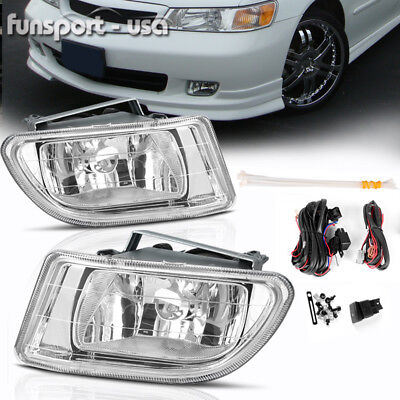 for 1999-2004 Honda Odyssey Clear Front Bumper Fog Light Lamp-Wiring-Switch PAIR