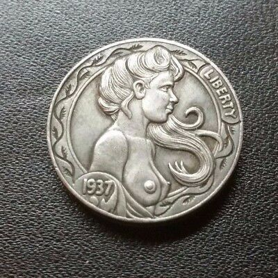 Hobo Nickel coin 1937-D Five Cents Cow Zombie SkeletonNAKED GIRL ART-PRESSED