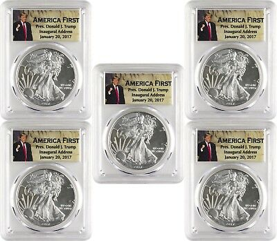2017 1 American Silver Eagle PCGS MS70 First Strike - Donald Trump - Lot of 5