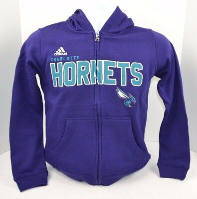 NBA CHARLOTTE HORNETS Boys ADIDAS Embroidered Full Zip Hoodie Jacket S M XL