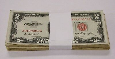 Mixed Lot of 100 19531963 Red Seal 2 US Notes - Avg- Circ-  VG- Condition