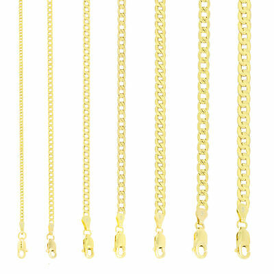 10K Yellow Gold 2mm-11mm Curb Cuban Chain Link Pendant Necklace Bracelet, 7-30