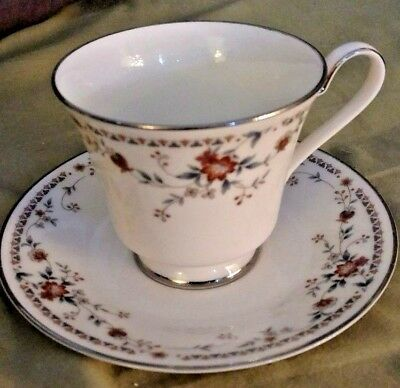 NORITAKE ADAGIO 7237 Ivory China footed tea cup - saucer set