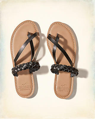 Hollister Co- braided faux leather sandals flip flops black choose size 6 7 BNWT