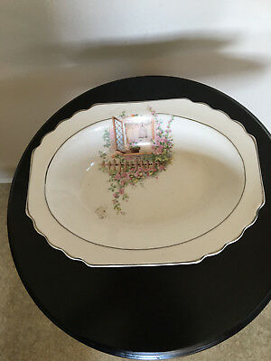 W S George White Lido Shape Dish Platter 1954  Country window and flowers