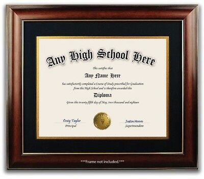 High School GED Personalized Diploma with Gold Seal - Novelty Ivory