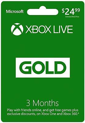Microsoft Xbox LIVE 3 Month Gold Membership Xbox 360  XBOX ONE -1 Month GamePAS