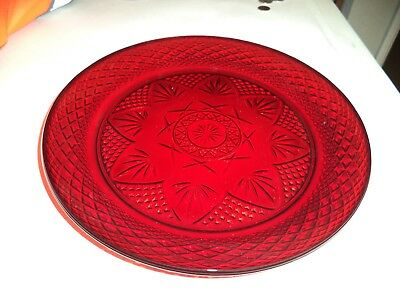Vintage Ruby  Cranberry  Red Glass  France 10 14 Dinner Plate