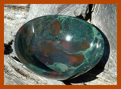 Large SOLID BLOODSTONE CRYSTAL Hand Carved Natural Gemstone 3 Bowl BLOOD STONE