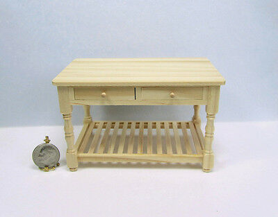 Dollhouse Miniature 112 Scale Wood Kitchen Work Table with Drawers