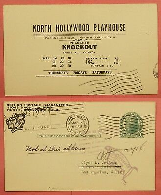 1946 ADVERTISING POSTAL CARD NORTH HOLLYWOOD CA PLAYHOUSE KNOCKOUT 3 ACT COMEDY