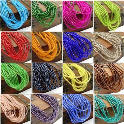 Wholesale a lot 196pcs Crystal Glass Rondelle Faceted Loose Spacer Beads DIY 2mm