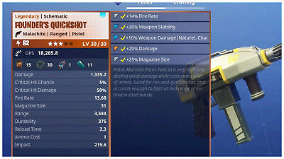PS4PC Fortnite PVE Save the World - Power Level 82 Founders Quickshot LV 3030