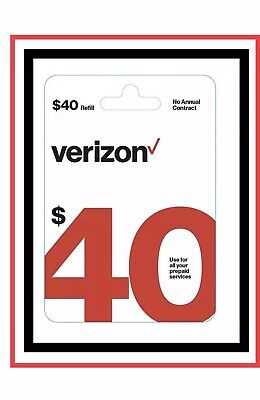 40 Verizon Wireless Prepaid Service Refill Card Fast Email Delivery