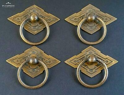 4 Eastlake Antique Style Brass Ornate Ring Pulls Handles 2-38 wide H15