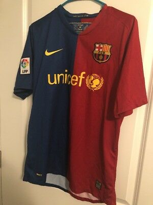 FC Barcelona nike jersey shirt M medium kit  unicef red blue lfp 2008  2009
