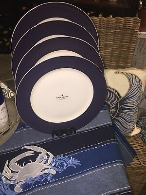 NEW Set of 4 Kate Spade RUTHERFORD CIRCLE NAVY BLUE 11-5 Dinner Plates NWT