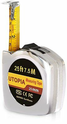 Metric Tape Measure 25 Ft by 1 Measuring Tape Self Lock Push Button Utopia Home